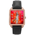 White Knight Rose Gold Leather Watch  Front