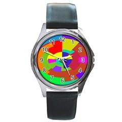 Pattern Round Leather Watch (silver Rim)