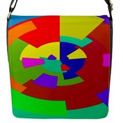 Pattern Flap Closure Messenger Bag (small)