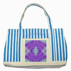 Turquoise Purple Zebra Pattern  Blue Striped Tote Bag