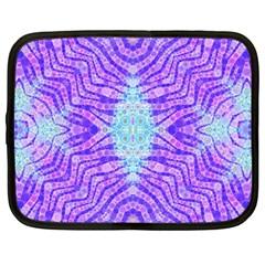 Turquoise Purple Zebra Pattern  Netbook Sleeve (large)