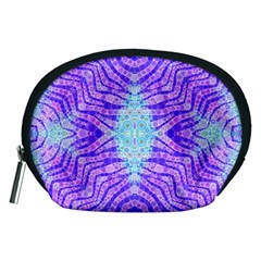 Turquoise Purple Zebra Pattern  Accessory Pouch (Medium)