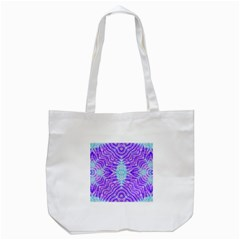 Turquoise Purple Zebra Pattern  Tote Bag (white)