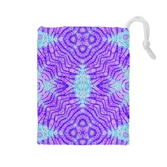 Turquoise Purple Zebra Pattern  Drawstring Pouch (Large)