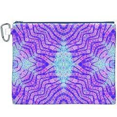 Turquoise Purple Zebra Pattern  Canvas Cosmetic Bag (xxxl)