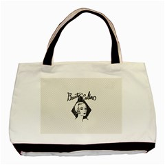 Vintage Beauty  Twin Sided Black Tote Bag