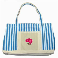 All Brains Leather  Blue Striped Tote Bag