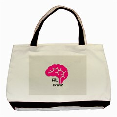 All Brains Leather  Twin-sided Black Tote Bag