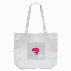 All Brains Leather  Tote Bag (White)