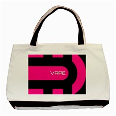 Hot Pink Black Vape  Twin Sided Black Tote Bag