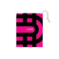 Hot Pink Black Vape  Drawstring Pouch (Small)