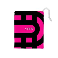 Hot Pink Black Vape  Drawstring Pouch (Medium)