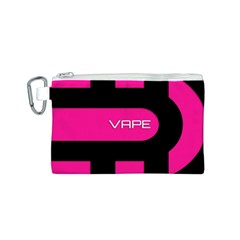 Hot Pink Black Vape  Canvas Cosmetic Bag (Small)