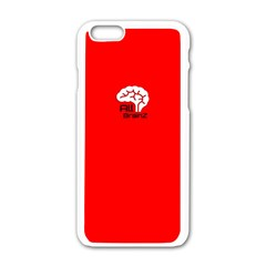 All Brains Red Apple iPhone 6 White Enamel Case