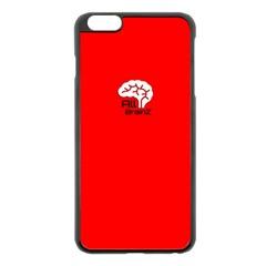 All Brains Red Apple iPhone 6 Plus Black Enamel Case