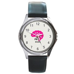 All Brains Leather  Round Leather Watch (silver Rim)