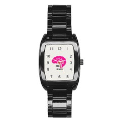 All Brains Leather  Stainless Steel Barrel Watch