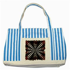 Zombie Apocalypse Warning Sign Blue Striped Tote Bag