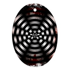 Zombie Apocalypse Warning Sign Oval Ornament (two Sides)