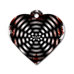 Zombie Apocalypse Warning Sign Dog Tag Heart (Two Sided)