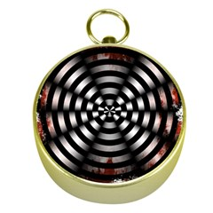 Zombie Apocalypse Warning Sign Gold Compass
