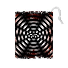 Zombie Apocalypse Warning Sign Drawstring Pouch (Large)