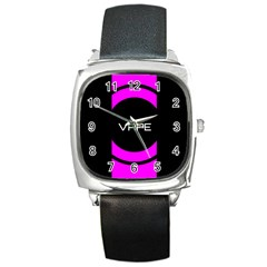 Vape Abstract Square Leather Watch