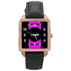 Vape Abstract Rose Gold Leather Watch