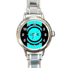 Turquoise Lines Vape   Round Italian Charm Watch