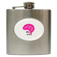 All Brains Leather  Hip Flask