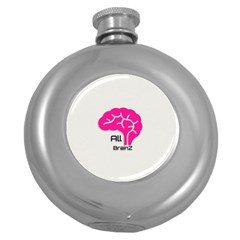 All Brains Leather  Hip Flask (round)