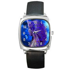 Moon Shadow Square Leather Watch