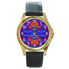 Abstract Reflections Round Leather Watch (gold Rim)