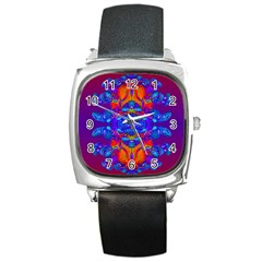 Abstract Reflections Square Leather Watch