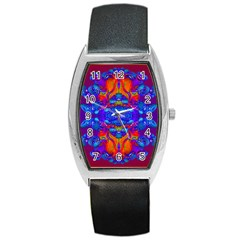 Abstract Reflections Tonneau Leather Watch