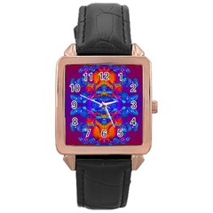 Abstract Reflections Rose Gold Leather Watch
