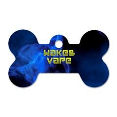 Wake&vape Blue Smoke  Dog Tag Bone (one Sided)