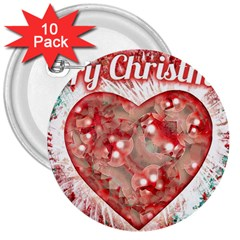 Vintage Colorful Merry Christmas Design 3  Button (10 Pack)