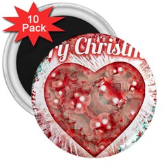 Vintage Colorful Merry Christmas Design 3  Button Magnet (10 Pack)