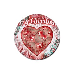 Vintage Colorful Merry Christmas Design Drink Coasters 4 Pack (round)