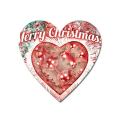 Vintage Colorful Merry Christmas Design Magnet (heart)