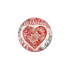 Vintage Colorful Merry Christmas Design Golf Ball Marker