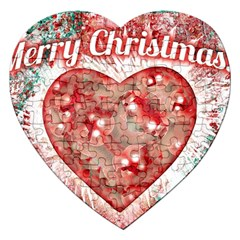 Vintage Colorful Merry Christmas Design Jigsaw Puzzle (heart)
