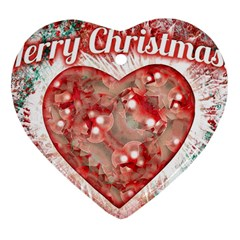 Vintage Colorful Merry Christmas Design Heart Ornament (two Sides)