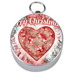 Vintage Colorful Merry Christmas Design Silver Compass