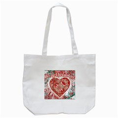 Vintage Colorful Merry Christmas Design Tote Bag (White)