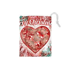 Vintage Colorful Merry Christmas Design Drawstring Pouch (small)
