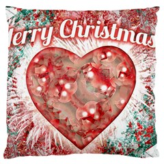 Vintage Colorful Merry Christmas Design Large Flano Cushion Case (Two Sides)