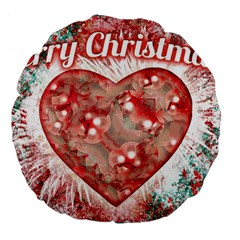 Vintage Colorful Merry Christmas Design Large Flano Round Cushion