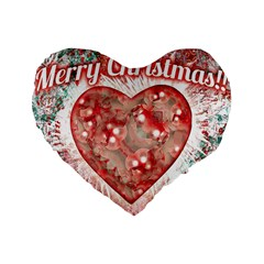 Vintage Colorful Merry Christmas Design Standard Flano Heart Shape Cushion